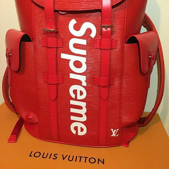 8863fee65532 Authentic L.V X Supreme Backpack In Red leather. M 5b4d1d3fa5d7c69add2c67eb